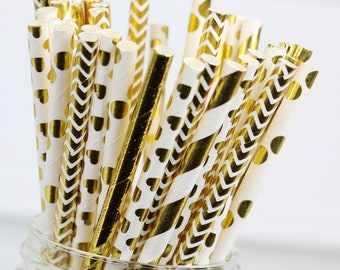 Gold Paper Straws, Birthday Party Decorations