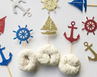 Nautical Cupcake Toppers • Sailing Birthday Decor • Sail Boat Toppers • Anchor Topper • Anchor's Away • Nautical Bridal Shower • Food Pick