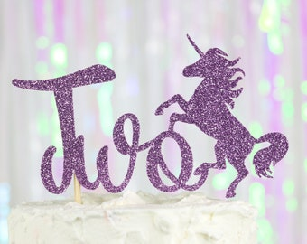 Two Cake Topper Unicorn Second Birthday Party Decor