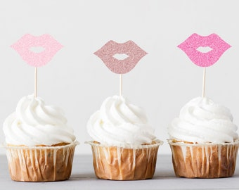 Hot Pink Lips Cupcake Toppers Dessert Bar Decorations Bachelorette Party Set of 24