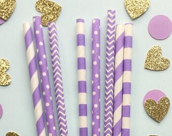Purple Paper Straws • Bridal Shower Decor • Baby Shower Decor • Bachelorette Party • Wedding Decor • Birthday Decor