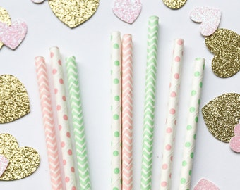Mint and Pink Paper Straws • First Birthday • Bridal Shower Decor • Baby Shower Decor • Bachelorette Party • Birthday Decor