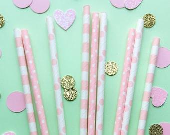 Pink Paper Straws • Bridal Shower Decor • Baby Shower Decor • Bachelorette Party • Wedding Decor • Birthday Decor