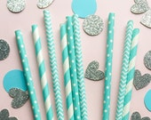 Blue Paper Straws • First Birthday Decor • Baby Shower Decor • Blue and Gold Decor • Boy First Birthday