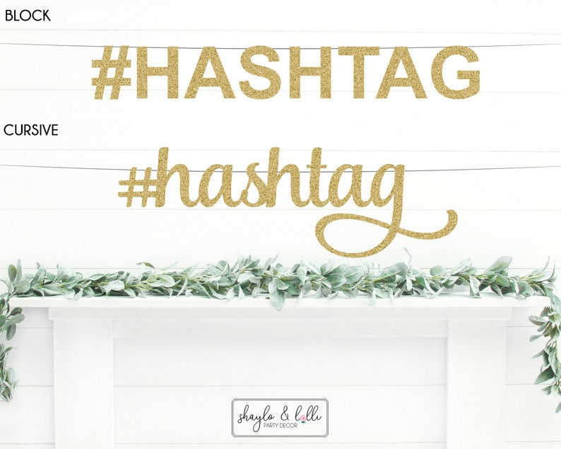 Custom Hashtag Banner Wedding Decorations Bachelorette Party image 0