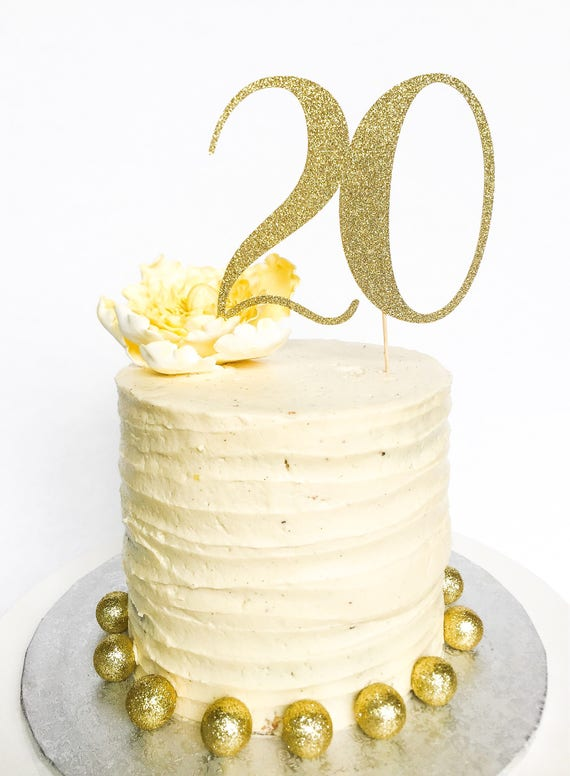 20 Birthday Cake Topper Twenty Cake Topper Gold Glitter | Etsy