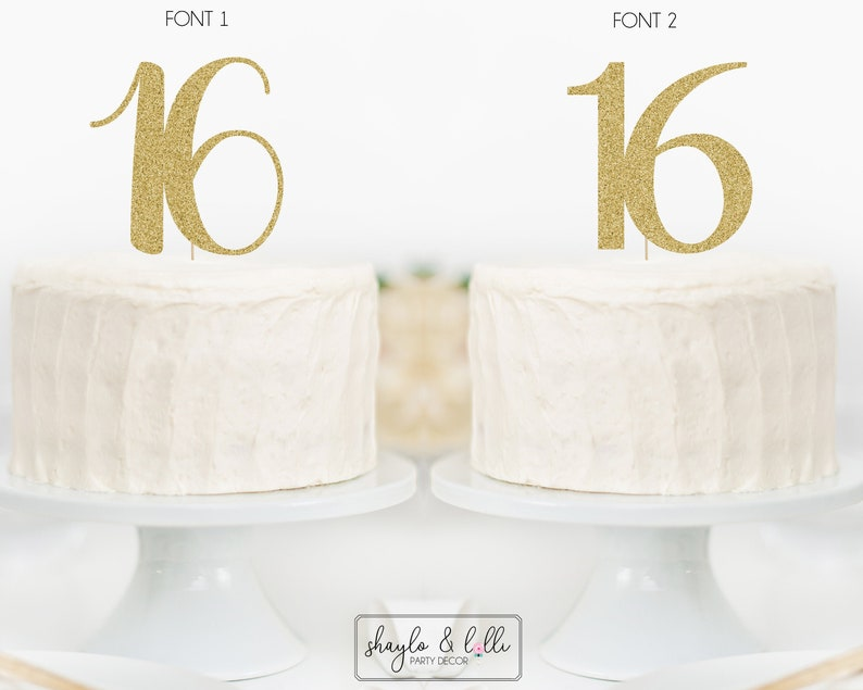 16 Cake Topper Sweet Sixteen Birthday Party Anniversary image 0