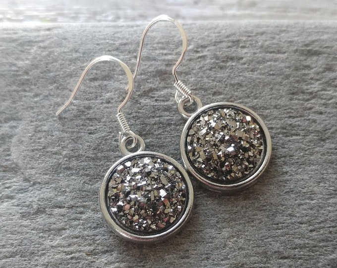 Metalic Druzy Earrings, 4 Color Options, 12  Settings Available, MD-E-Please call for wholesale prices