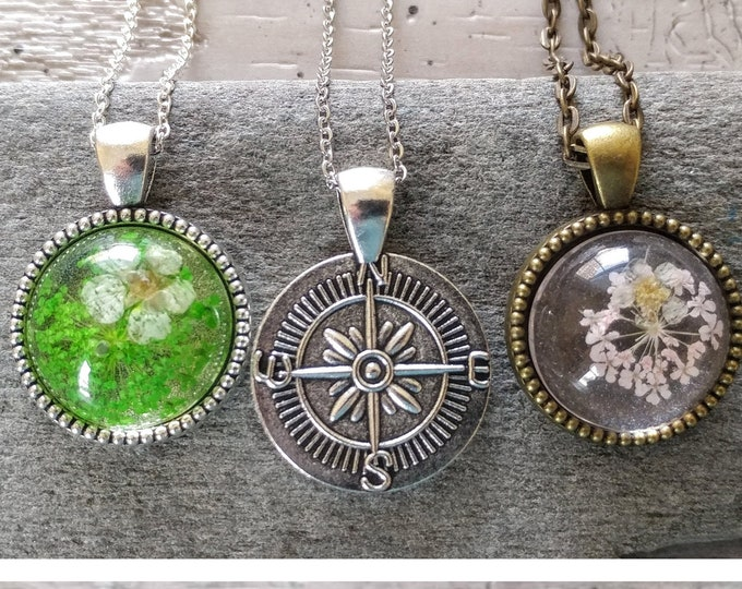Pressed Flower Compass Necklace, PFN-6- Please call for wholesale pricing