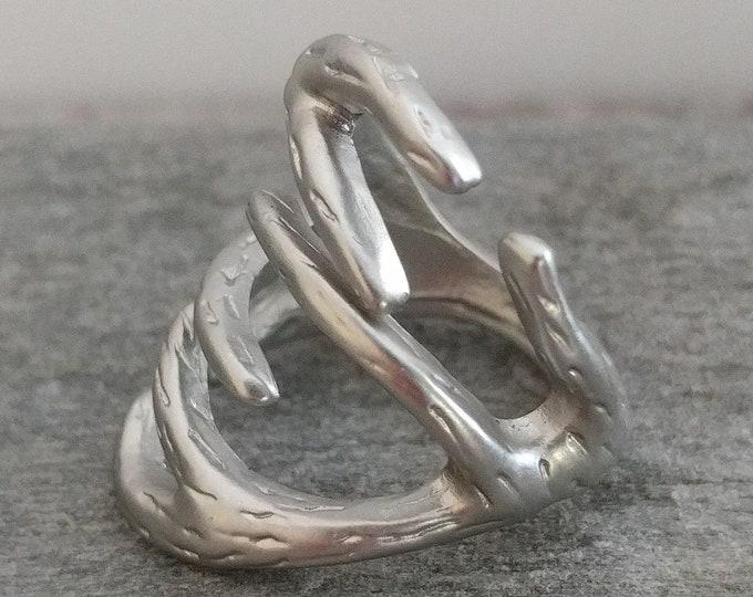 Silver Antler Statement Ring. Boho Antler Ring, Deer Antler Nature Ring, Antler Wraparound Ring