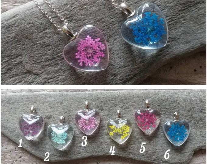 Pressed Flower Heart Necklace, PFN-8- Please call for wholesale pricing
