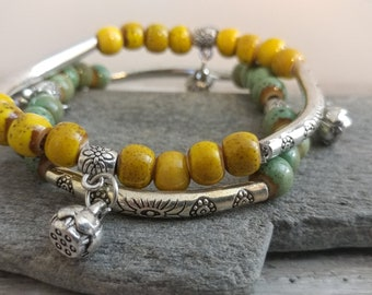 Double Boho Bracelet, Bumble & Moss, BEADB-5- Please call for wholesale pricing