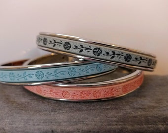 Stamped Floral Channel Cuff Bracelet, Silver, Gold or Rose Gold, Handmade, LB-39