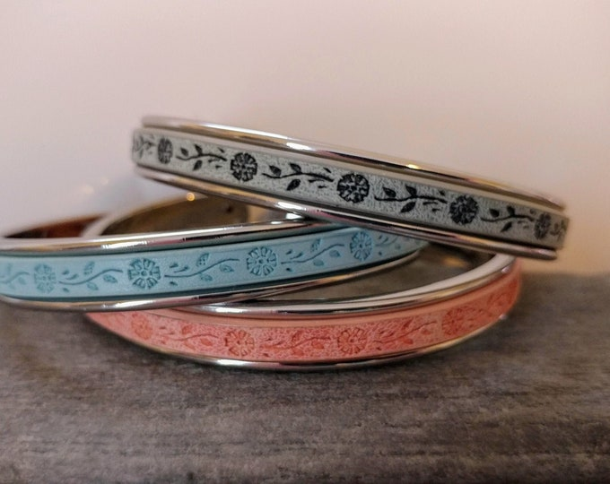 Stamped Floral Channel Cuff Bracelet, Silver, Gold or Rose Gold, Handmade, LB-39- Please call for wholesale pricing