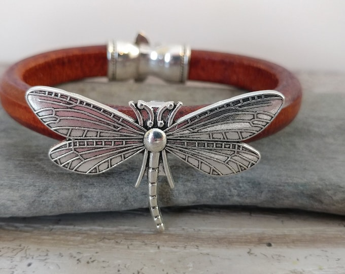 Leather Dragonfly Statement Bracelet, Handmade, LB-21- Please call for wholesale pricing