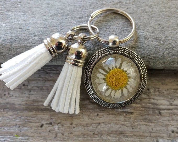 Set of 3 Daisy Tassel Key Chains, PFKC-1- Please call for wholesale pricing
