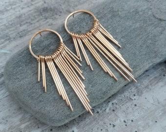 Art Deco Hoop Earrings, Available in Silver or GoldGold Gatspy Earrings,