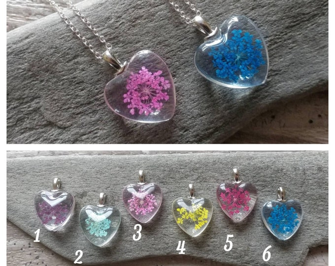 Pressed Flower Heart Necklace, MOQ 3- Please call for wholesale pricing