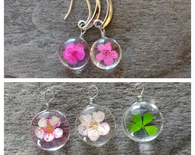 Pressed Flower Earrings, PF-E7- Please call for wholesale pricing