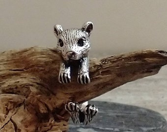 Adorable Mouse Ring, Adjustable Silver Mouse Ring, Animal Ring