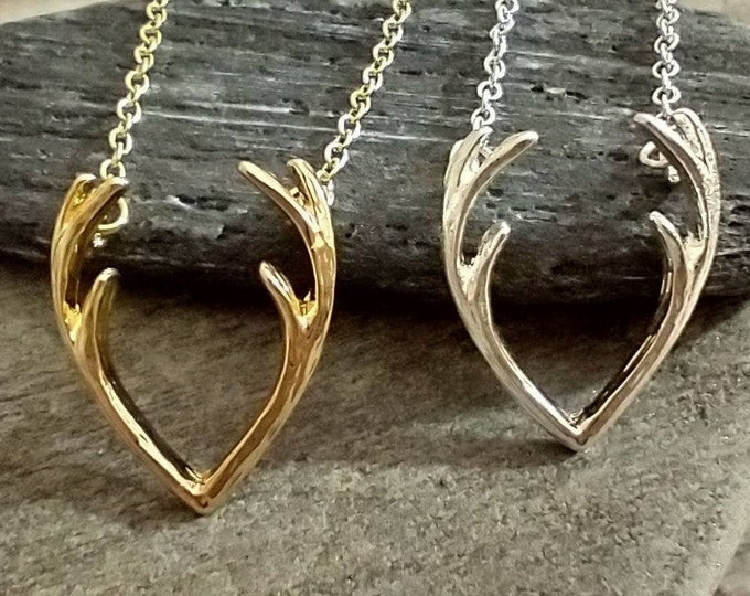Minimalist Antler Necklace, Available In Silver or Gold