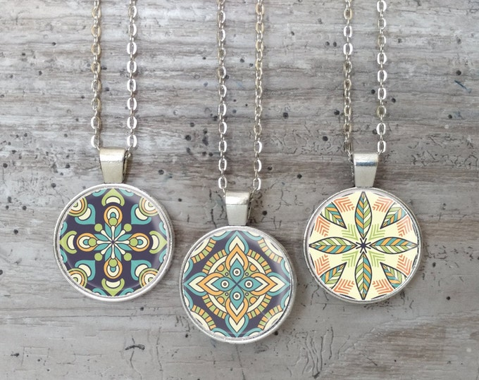 Mandala Print Necklace, Silver or Bronze, Handmade In Maine