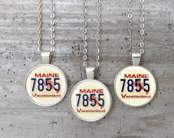Vintage Maine Plate Necklace, Silver or Bronze, Handmade In Maine