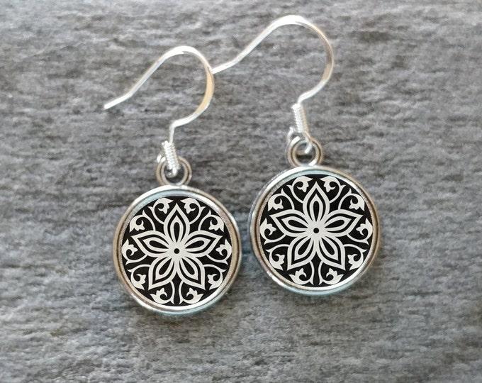 Black White & Gold Earrings, Handmade, Multiple Images, 12  Settings Available, BWG-E