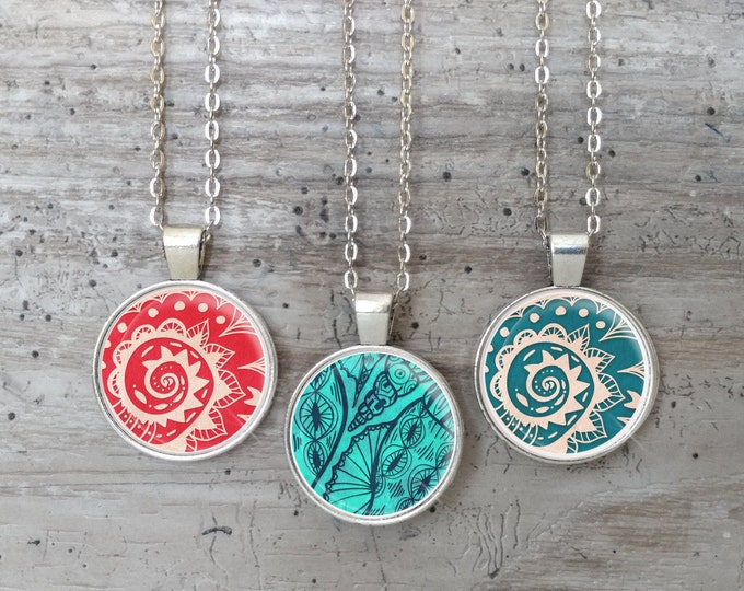 Nautical Bandana Necklace, Silver or Bronze, Handmade In Maine