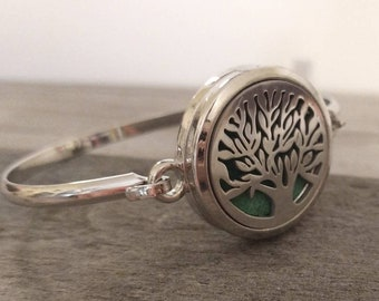 Silver Tree Aromatherapy Bracelet,  Silver Diffuser Bracelet, Tree of Life Bracelet, Aromatherapy Gift, Gift for Her, Gift for Mom