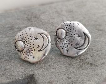 Hammered Celestial Stud Earrings, Stud Statement Earrings, Silver Celestial Earrings
