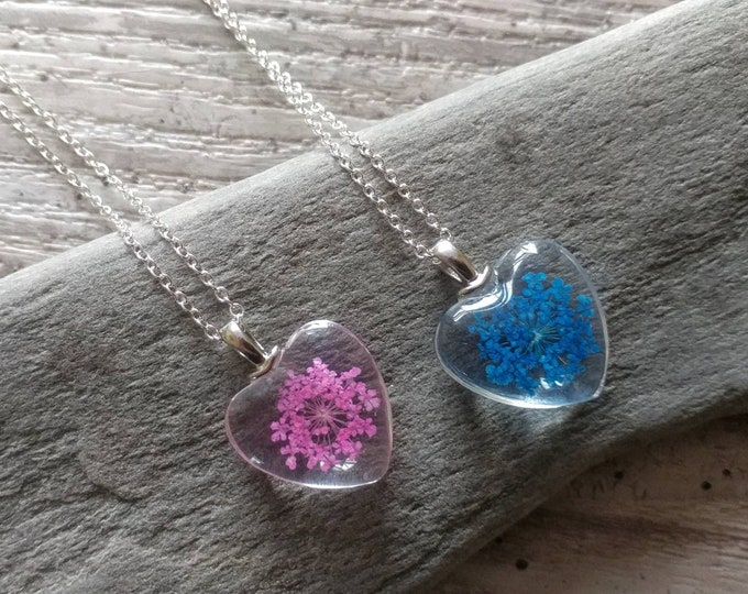 Pressed Flower Heart Necklace,MOQ 3