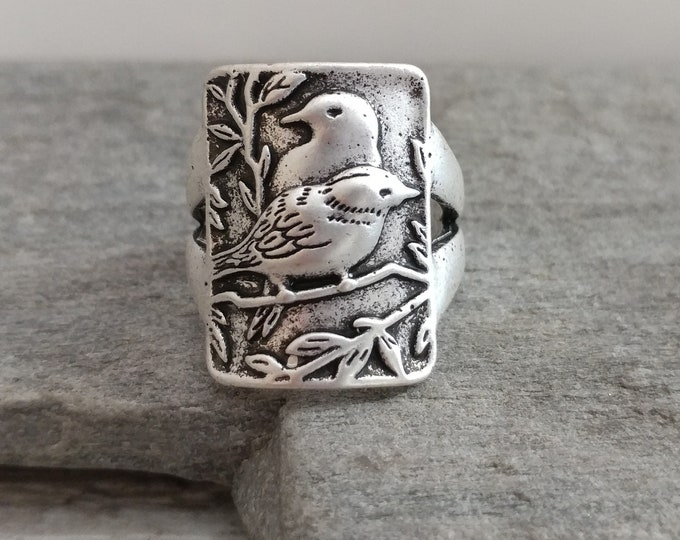 Unique Silver Raven Ring, Silver Crow Ring, Silver Bird Ring, Viking Ring, Crest Ring