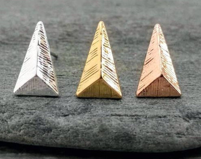 3 Dimensional Triangle Studs- Available in Silver, Gold or Rose Gold, Minimalist Triangle Studs
