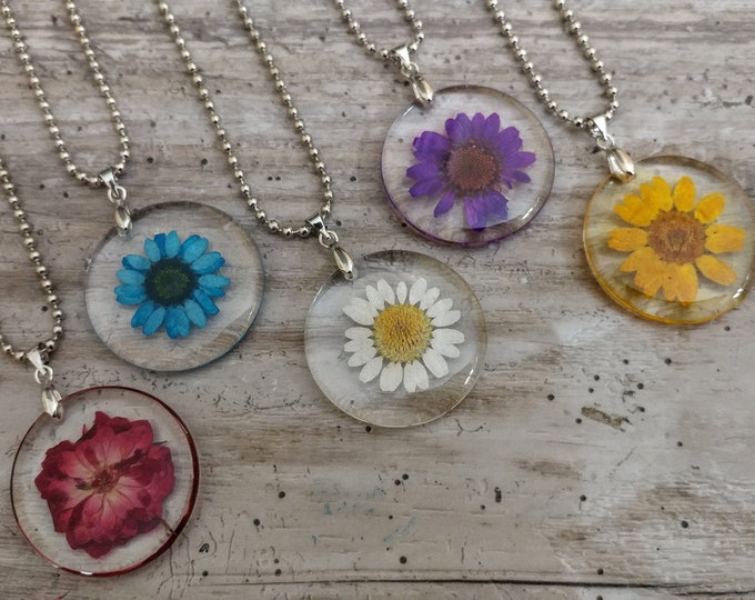 Pressed Flower Window Necklace, PFN-3- Please call for wholesale pricing