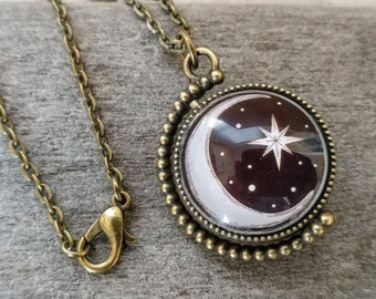 Double Sided Celestial Necklace, Antique Bronze