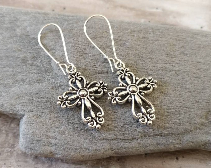 Silver Cross Earrings, EAR-19-Please call for wholesale pricing