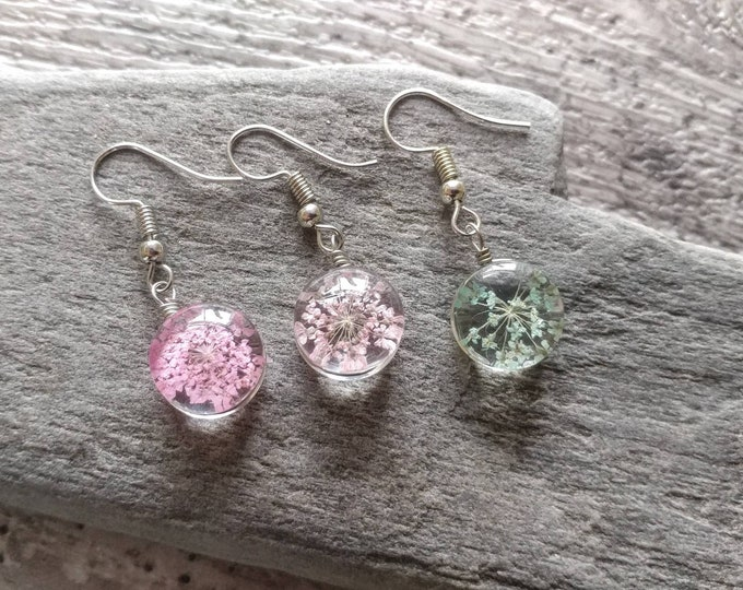 Pressed Flower Earrings, 3 colors available, FREE SHIPPING