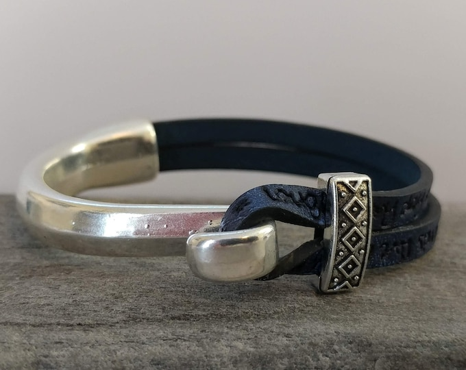 Stamped Cuff Wrap Bracelet, Handmade, Vegan, LB-32- Please call for wholesale pricing