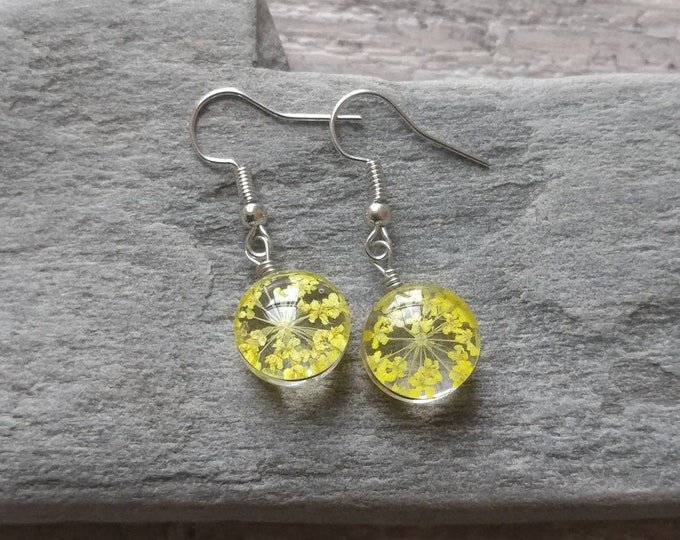 Pressed Flower Earrings, sunny yellow, FREE SHIPPING