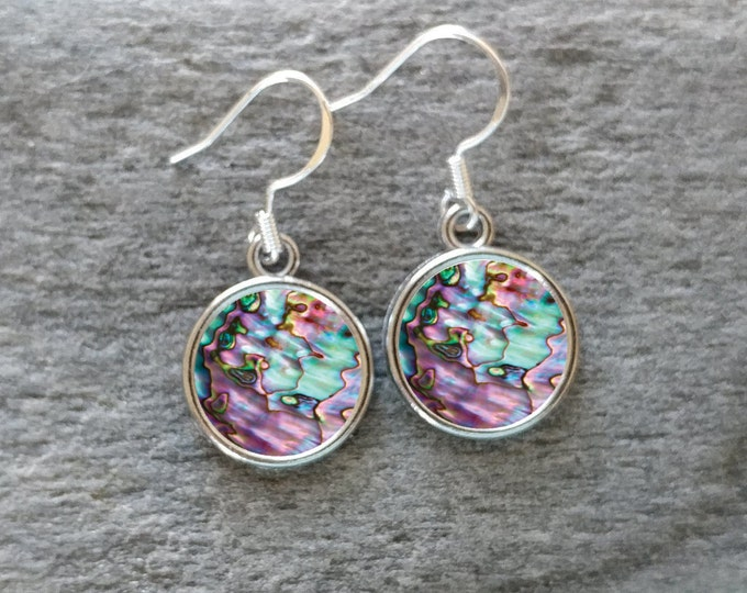 Abalone Earrings, Handmade, Multiple Images, 12  Settings Available, ABALO-E-Please call for wholesale prices