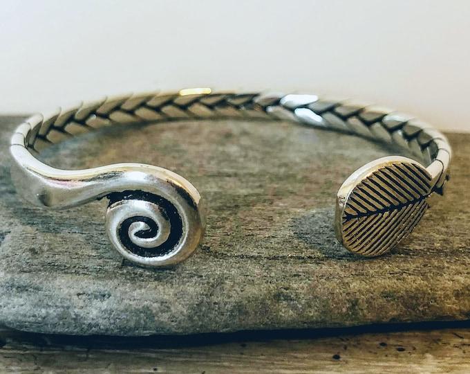 Silver Nature Bracelet, Adjustable Cuff Bracelet, Silver Braided Bracelet, Boho Woven Bracelet