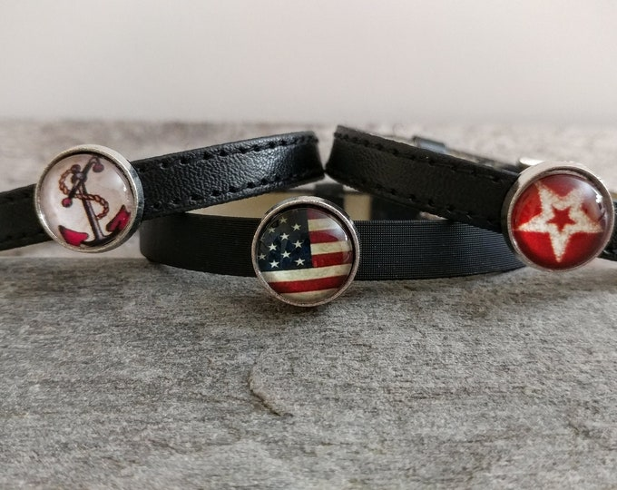 Black Tween Slider Bracelet, Vegan, LB-9- Please call for wholesale prices