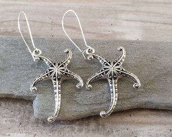 Silver Starfish Statement Earrings, EAR-27