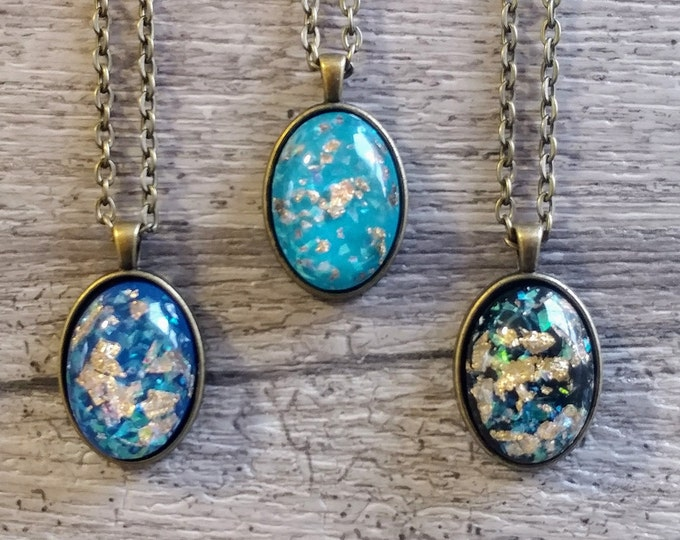 Gold Foil Resin Necklace, BOHO-N1- Please call for wholesale pricing