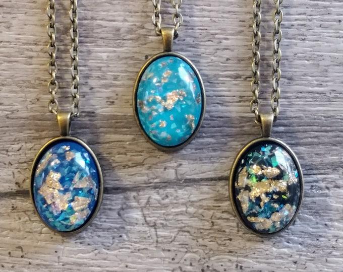 Gold Foil Resin Necklace, MOQ 3