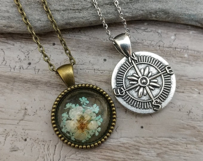 Pressed Flower Compass Necklace, MOQ 3