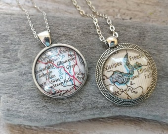 Custom Map Necklace, CN-1
