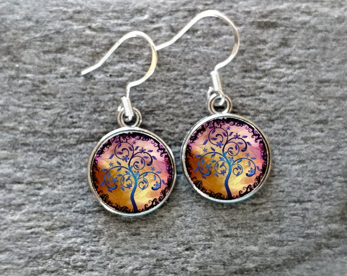 Glass Tree Earrings, Handmade, Multiple Images, 12  Settings Available, TREE-E-Please call for wholesale prices
