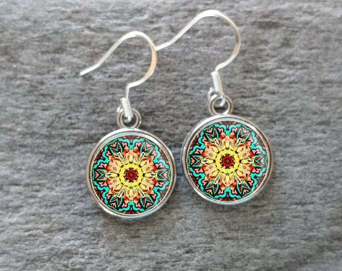 Stained Glass Earrings, Handmade, Multiple Images, 12  Settings Available,SG-E